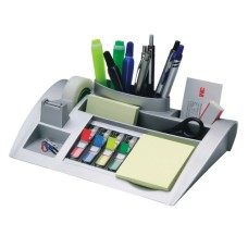 3M Desktop Organizer silvergrey with post-it dispensers
