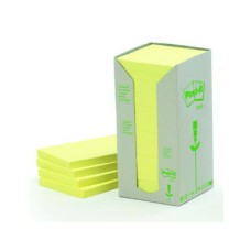 3M Post-it Green Notes tower, yellow, 16 blocks of 100 sheets, 76x76mm