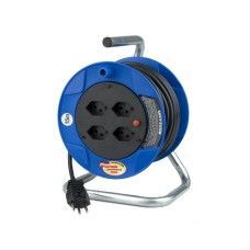 Cable Reels Compact ST, 15m, blue, with 4xT13 plug, Swiss plugs.