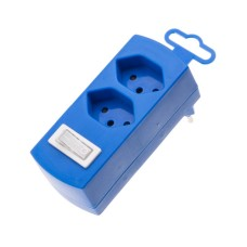 Abzweigstecker 2-fach, blue, 2x T13 with Kinderschutz, with Schalter