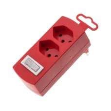Abzweigstecker 2-fach, red, 2x T13 with Kinderschutz, with Schalter