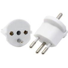 Adapter not removable, 3-pole, Germany to Switzerland CH T12, white, CEE7 on T12