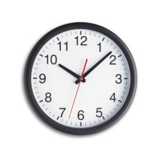 TFA Wall Clock, White Background, Black Edge, with Glass, 300 x 45 mm