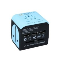 Travel Adapter multi-countries - with 3 USB charging ports - blue- black
