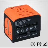 Travel Adapter multi-countries - with 3 USB charging ports - orange- black