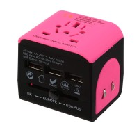 Travel Adapter multi-countries - with 3 USB charging ports - pink- black